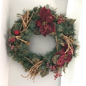 Christmas wreath burgundy and gold accents